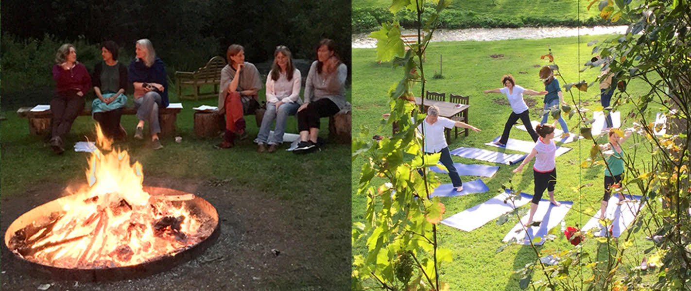 Left to right: Friendship around the campfire, yoga on the grass